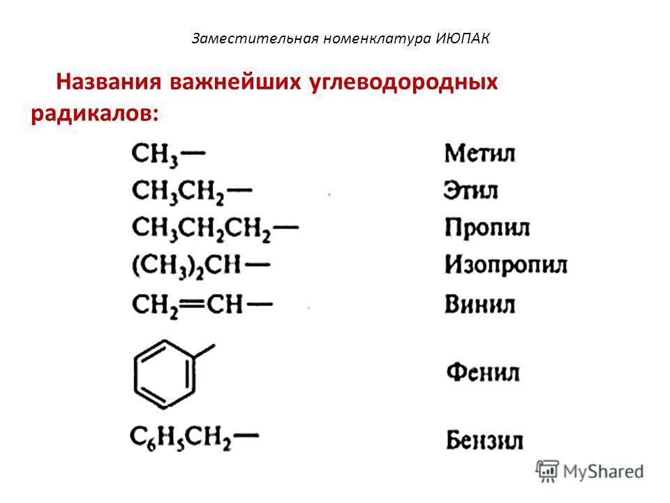 Названия важнейших углеводородных радикалов: Заместительная номенклатура ИЮПАК
