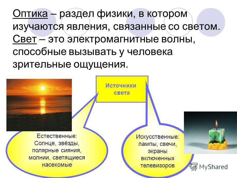 Оптика – раздел физики, в котором изучаются явления, связанные со светом. Свет – это электромагнитные волны, способные вызывать у человека зрительные ощущения. Источники света Естественные: Солнце, звёзды, полярные сияния, молнии, светящиеся насекомы