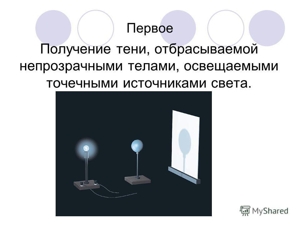 Получение тени, отбрасываемой непрозрачными телами, освещаемыми точечными источниками света. Первое