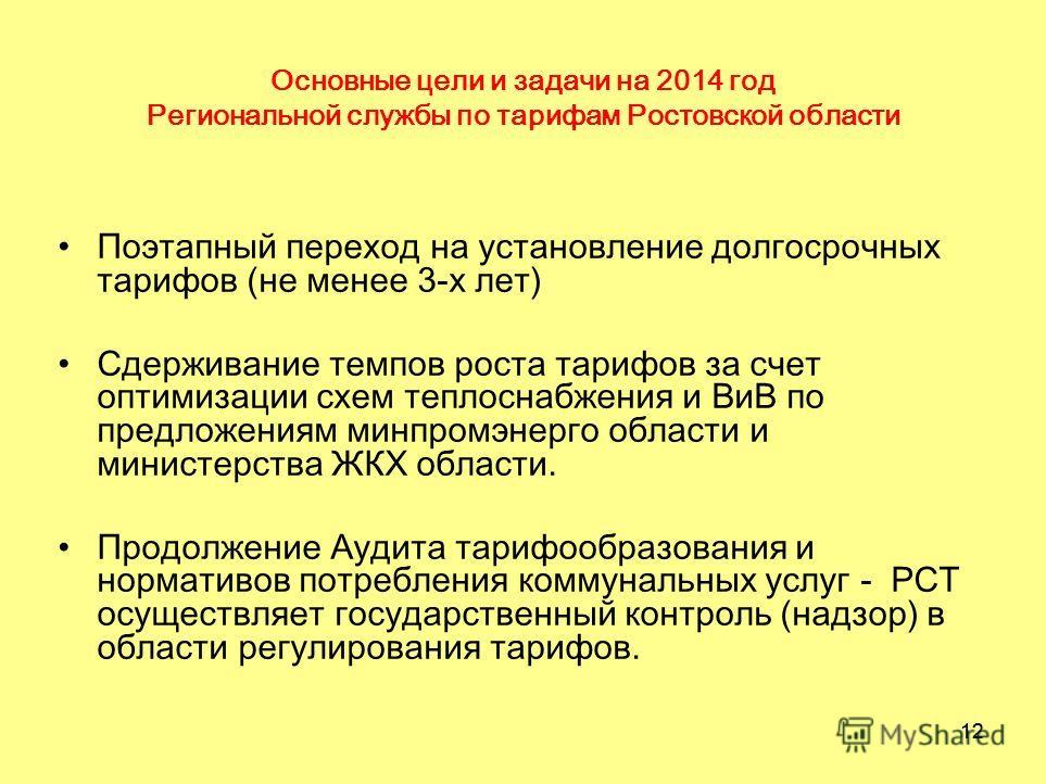 12 Основные цели и задачи на 2014 год Региональной службы по тарифам Ростовской области Поэтапный переход на установление долгосрочных тарифов (не менее 3-х лет) Сдерживание темпов роста тарифов за счет оптимизации схем теплоснабжения и ВиВ по предло