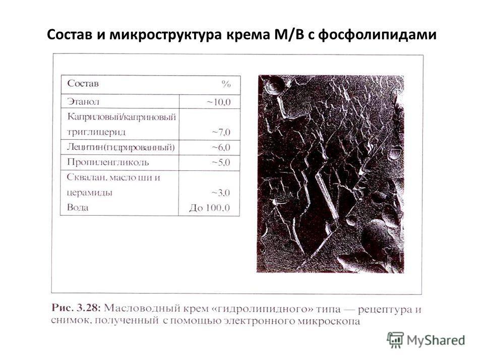 Состав и микроструктура крема М/В с фосфолипидами
