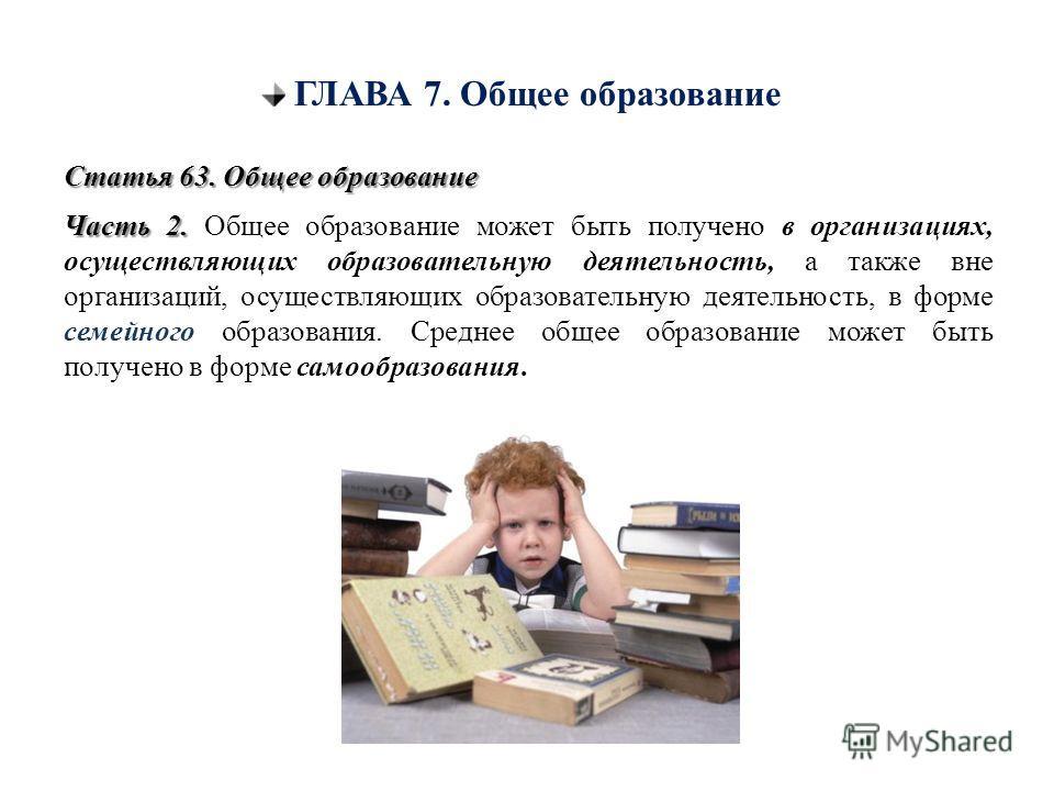 ГЛАВА 7. Общее образование Статья 63. Общее образование Часть 2. Часть 2. Общее образование может быть получено в организациях, осуществляющих образовательную деятельность, а также вне организаций, осуществляющих образовательную деятельность, в форме