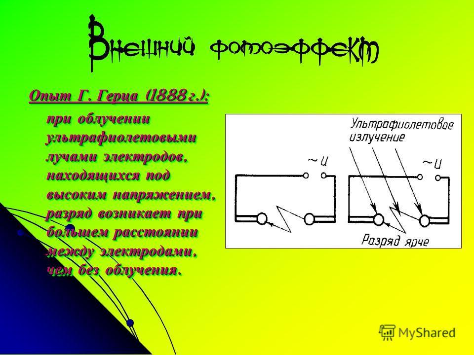 Опыт Г. Герца (1888 г.): при облучении ультрафиолетовыми лучами электродов, находящихся под высоким напряжением, разряд возникает при большем расстоянии между электродами, чем без облучения. Опыт Г. Герца (1888 г.): при облучении ультрафиолетовыми лу