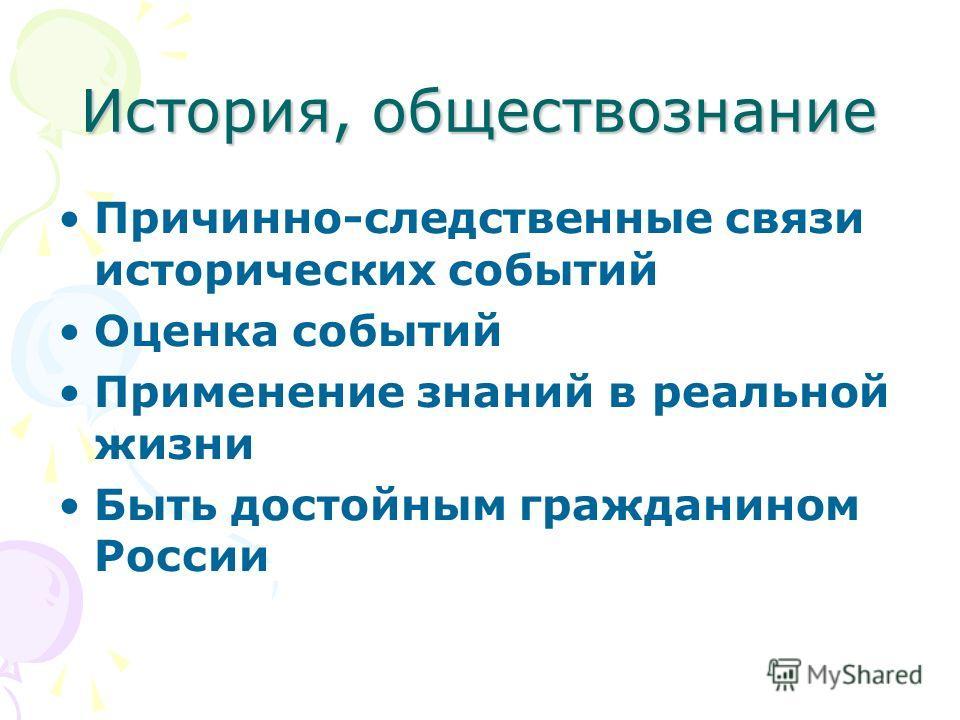 История, обществознание Причинно-следственные связи исторических событий Оценка событий Применение знаний в реальной жизни Быть достойным гражданином России