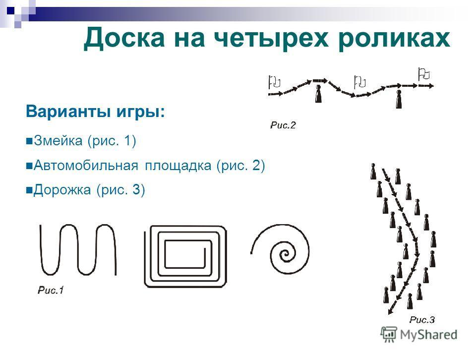 Варианты игры: Змейка (рис. 1) Автомобильная площадка (рис. 2) Дорожка (рис. 3) Доска на четырех роликах