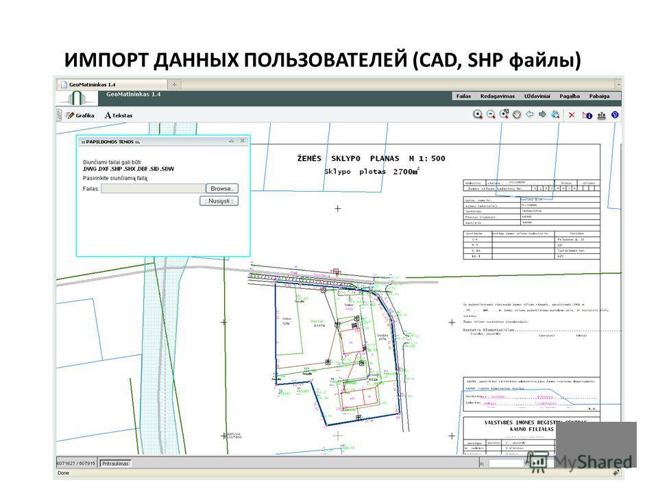 ИМПОРТ ДАННЫХ ПОЛЬЗОВАТЕЛЕЙ (CAD, SHP файлы)
