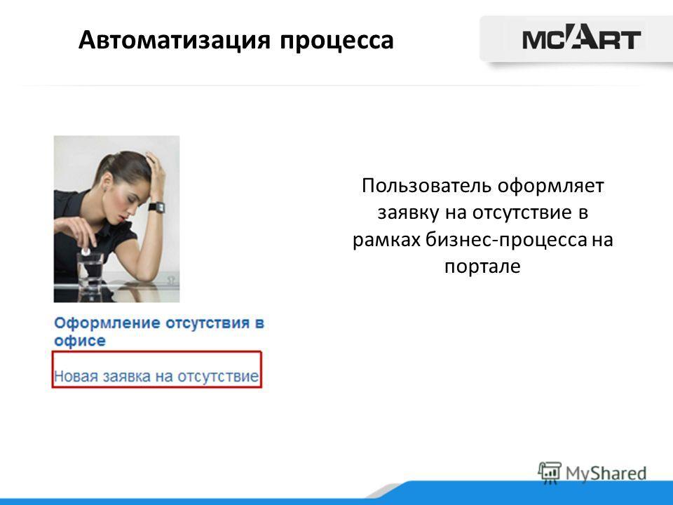 Автоматизация процесса Пользователь оформляет заявку на отсутствие в рамках бизнес-процесса на портале