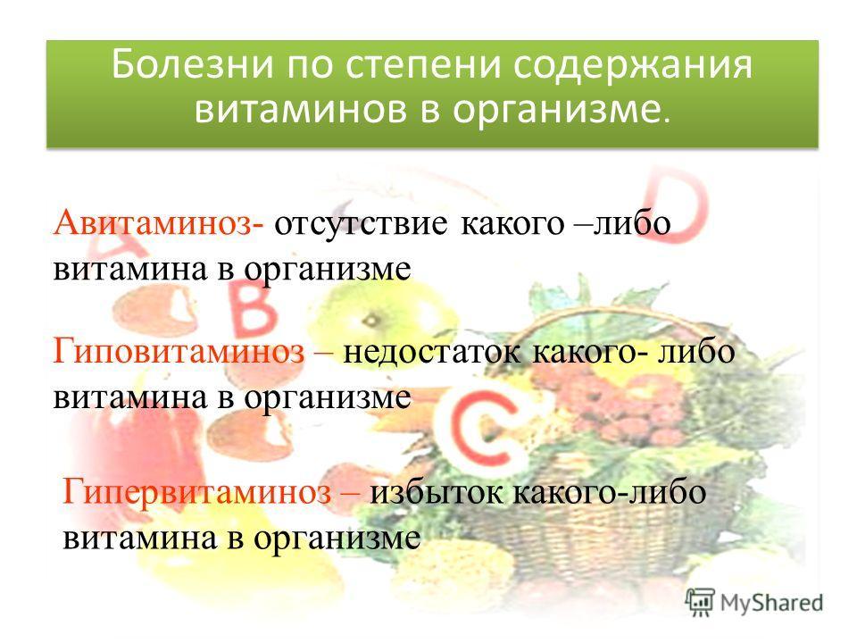 Авитаминоз- отсутствие какого –либо витамина в организме Гиповитаминоз – недостаток какого- либо витамина в организме Гипервитаминоз – избыток какого-либо витамина в организме Болезни по степени содержания витаминов в организме.