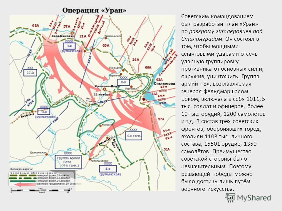 Советским командованием был разработан план «Уран» по разгрому гитлеровцев под Сталинградом. Он состоял в том, чтобы мощными фланговыми ударами отсечь ударную группировку противника от основных сил и, окружив, уничтожить. Группа армий «Б», возглавляе
