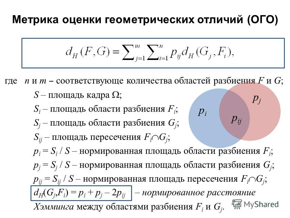 где n и m – соответствующе количества областей разбиения F и G ; S – площадь кадра ; S i – площадь области разбиения F i ; S j – площадь области разбиения G j ; S ij – площадь пересечения F i G j ; p i = S i / S – нормированная площадь области разбие