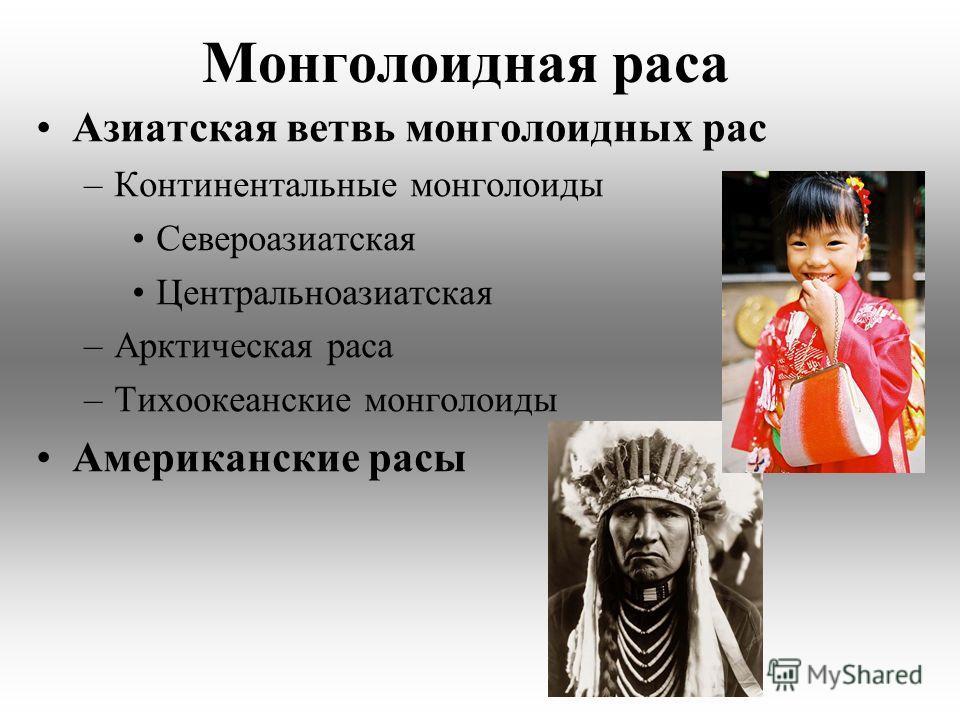 Азиатская ветвь монголоидных рас –Континентальные монголоиды Североазиатская Центральноазиатская –Арктическая раса –Тихоокеанские монголоиды Американские расы