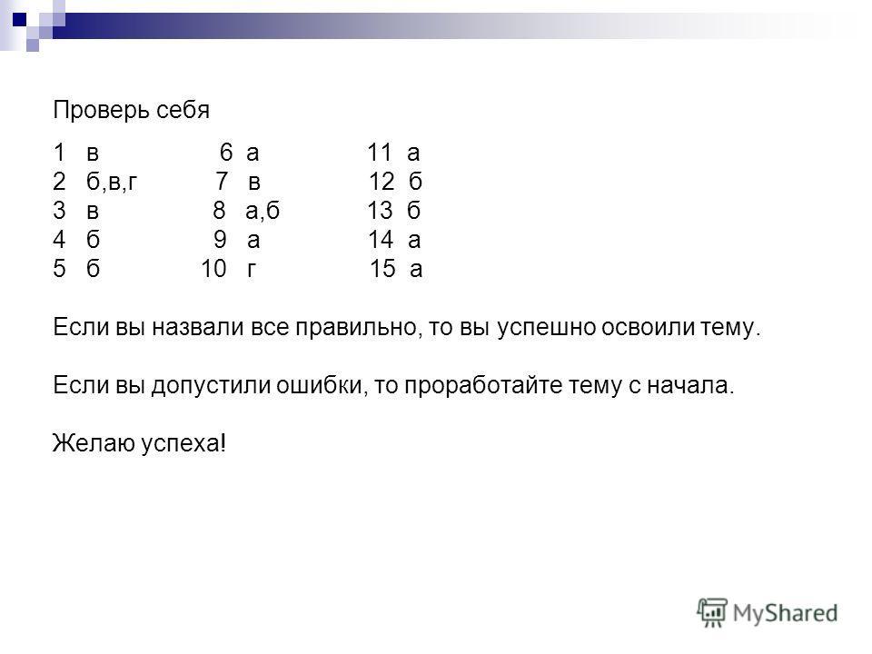 Проверь себя 1 в 6 а 11 а 2 б,в,г 7 в 12 б 3 в 8 а,б 13 б 4 б 9 а 14 а 5 б 10 г 15 а Если вы назвали все правильно, то вы успешно освоили тему. Если вы допустили ошибки, то проработайте тему с начала. Желаю успеха!