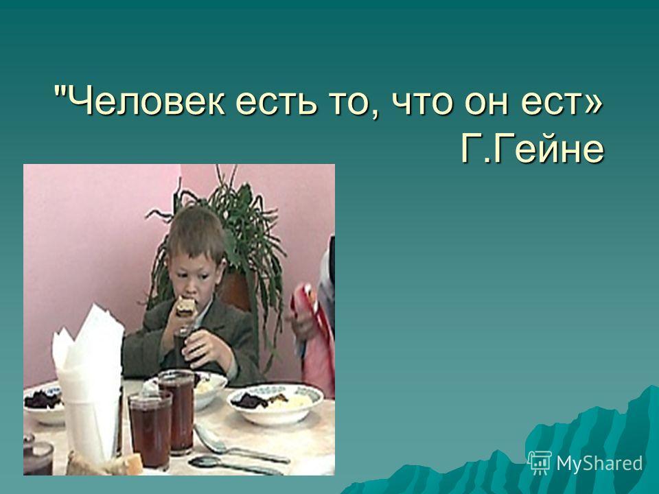 Человек есть то, что он ест» Г.Гейне