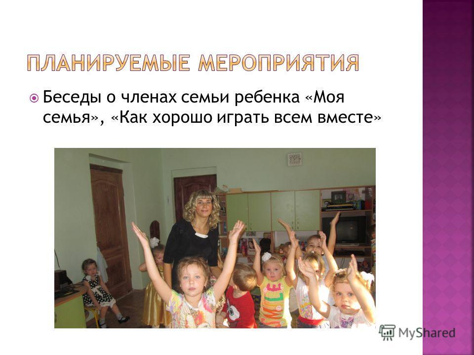 Беседы о членах семьи ребенка «Моя семья», «Как хорошо играть всем вместе»