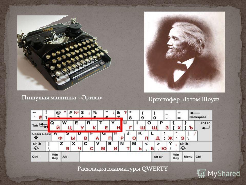 Пишущая машинка «Эрика» Кристофер Лэтэм Шоулз Раскладка клавиатуры QWERTY