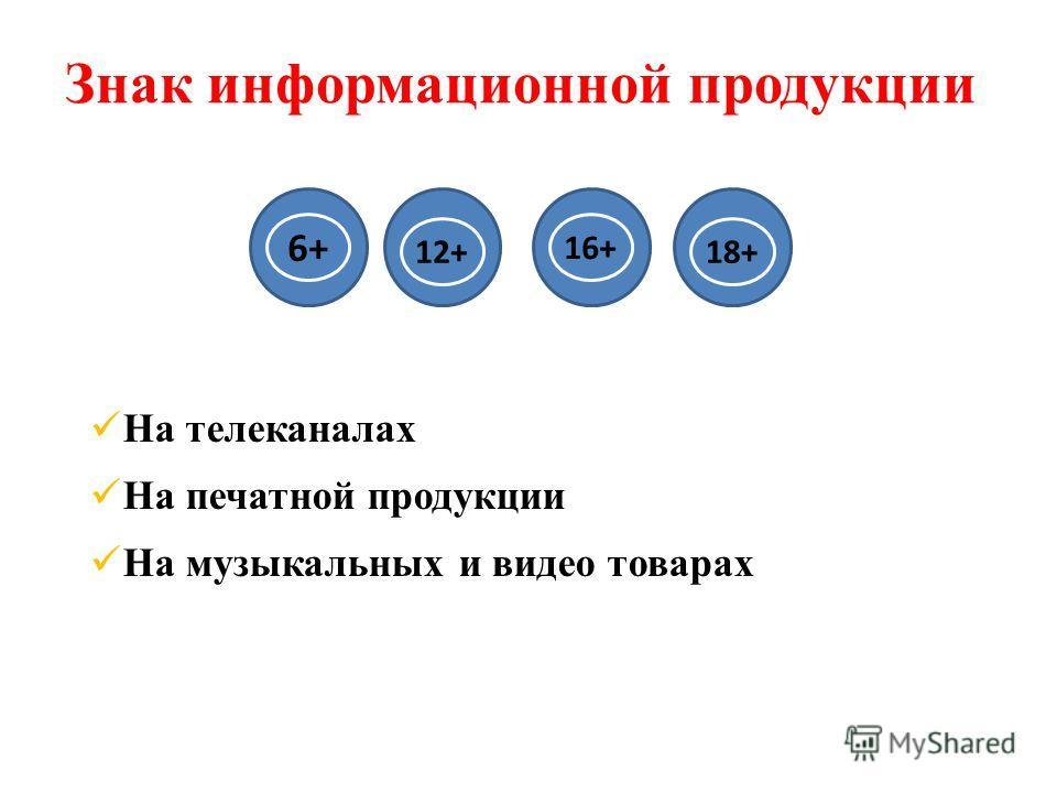 Знак информационной продукции На телеканалах На печатной продукции На музыкальных и видео товарах 16+ 12+18+ 6+