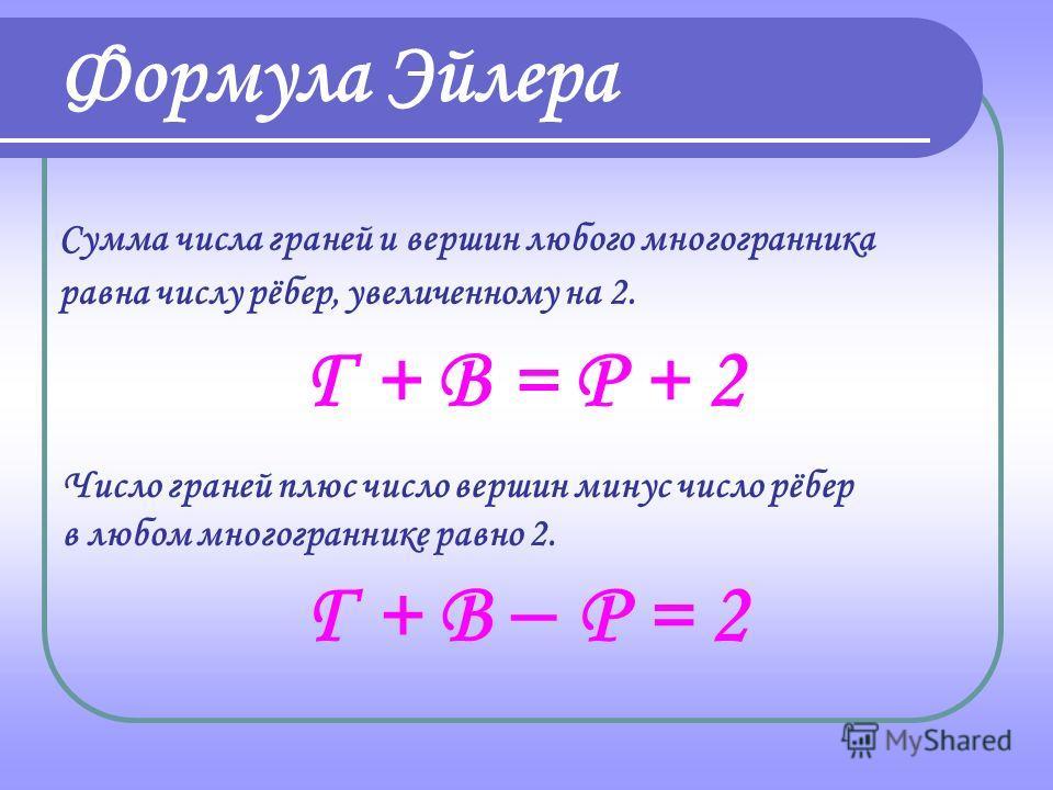 Правильный многогранник Число граней и вершин (Г + В) рёбер (Р) Тетраэдр4 + 4 = 86 Куб6 + 8 = 1412 Октаэдр8 + 6 = 1412 Додекаэдр12 + 20 = 3230 Икосаэдр20 + 12 = 3230 Таблица 2