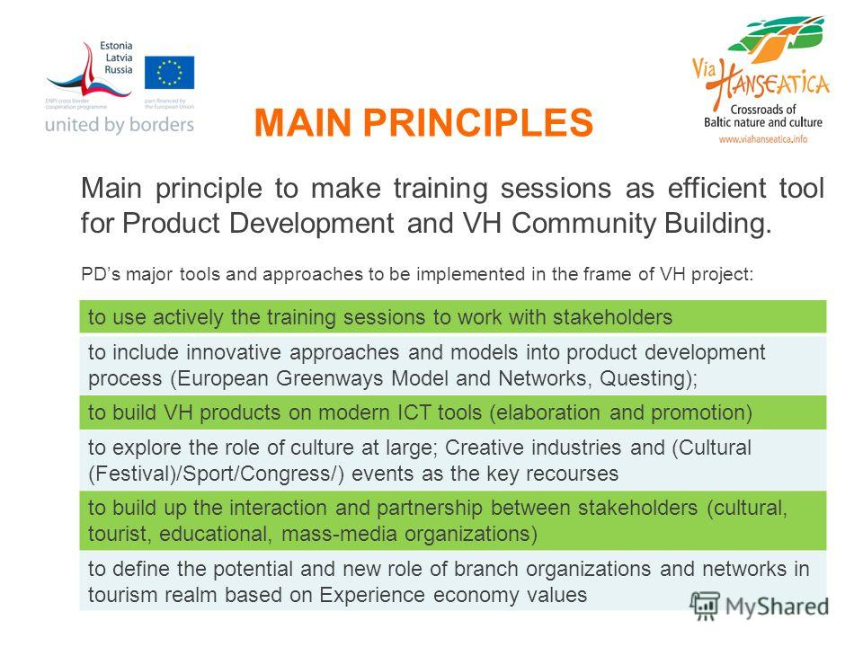 MAIN PRINCIPLES Main principle to make training sessions as efficient tool for Product Development and VH Community Building. PDs major tools and approaches to be implemented in the frame of VH project: to use actively the training sessions to work w