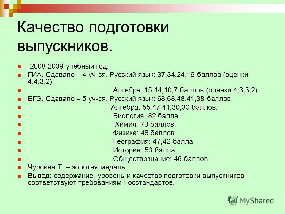 Качество подготовки выпускников. 2008-2009 учебный год. ГИА. Сдавало – 4 уч-ся. Русский язык: 37,34,24,16 баллов (оценки 4,4,3,2). Алгебра: 15,14,10,7 баллов (оценки 4,3,3,2). ЕГЭ. Сдавало – 5 уч-ся. Русский язык: 68,68,48,41,38 баллов. Алгебра: 55,4