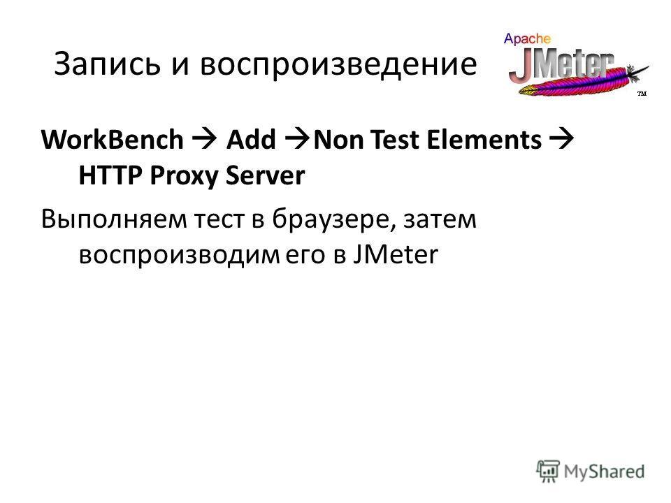 Запись и воспроизведение WorkBench Add Non Test Elements HTTP Proxy Server Выполняем тест в браузере, затем воспроизводим его в JMeter