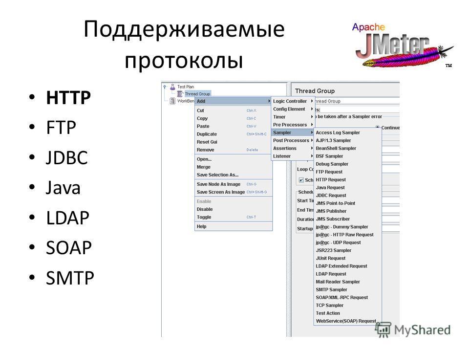 Поддерживаемые протоколы HTTP FTP JDBC Java LDAP SOAP SMTP