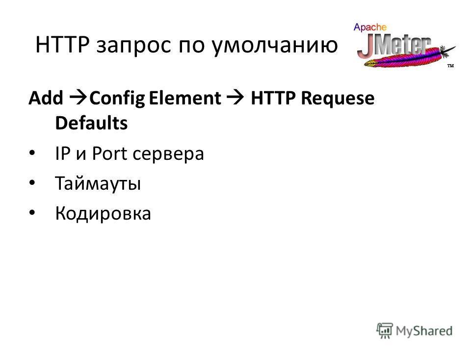 HTTP запрос по умолчанию Add Config Element HTTP Requesе Defaults IP и Port сервера Таймауты Кодировка