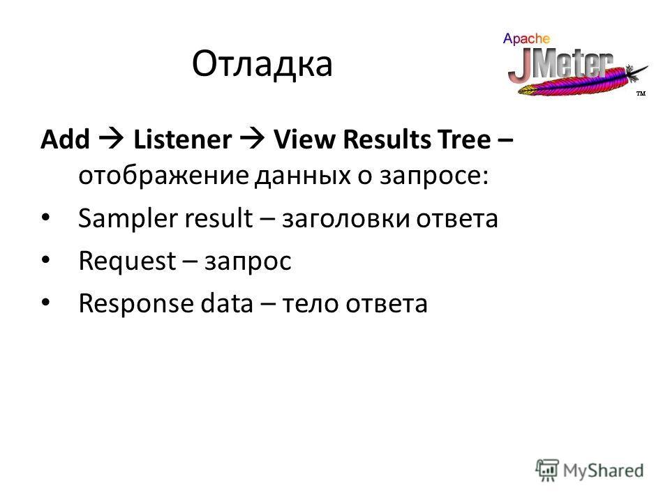 Отладка Add Listener View Results Tree – отображение данных о запросе: Sampler result – заголовки ответа Request – запрос Response data – тело ответа