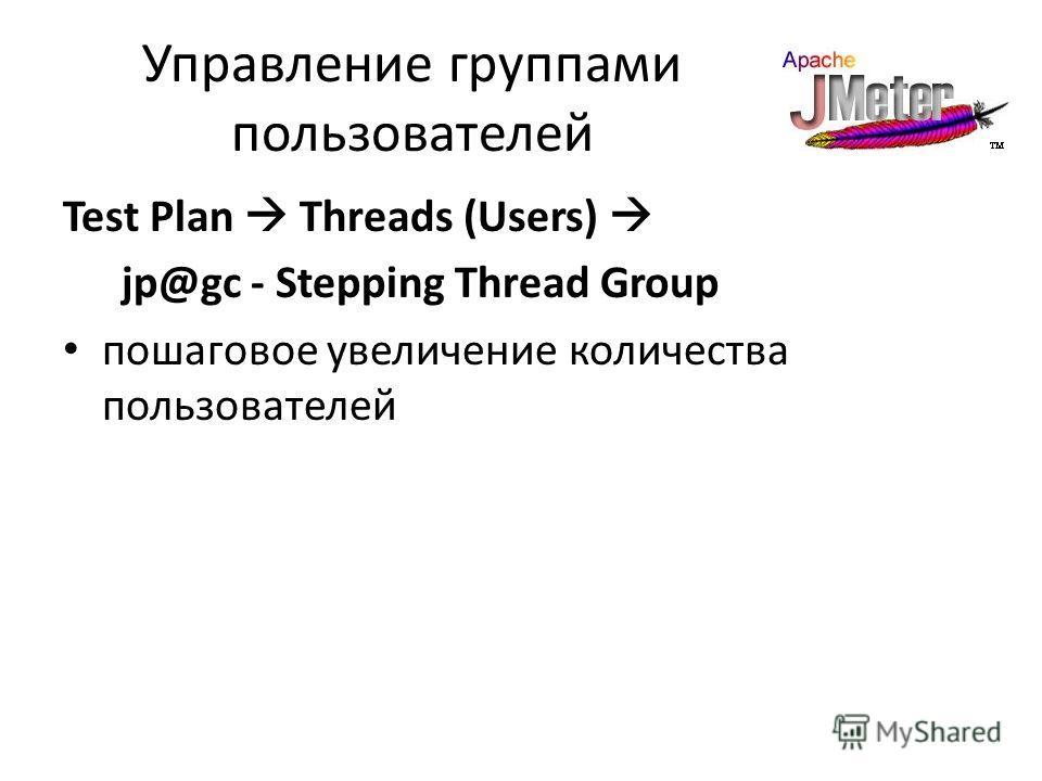 Управление группами пользователей Test Plan Threads (Users) jp@gc - Stepping Thread Group пошаговое увеличение количества пользователей