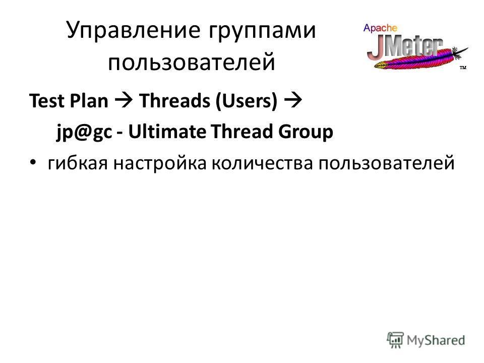 Управление группами пользователей Test Plan Threads (Users) jp@gc - Ultimate Thread Group гибкая настройка количества пользователей