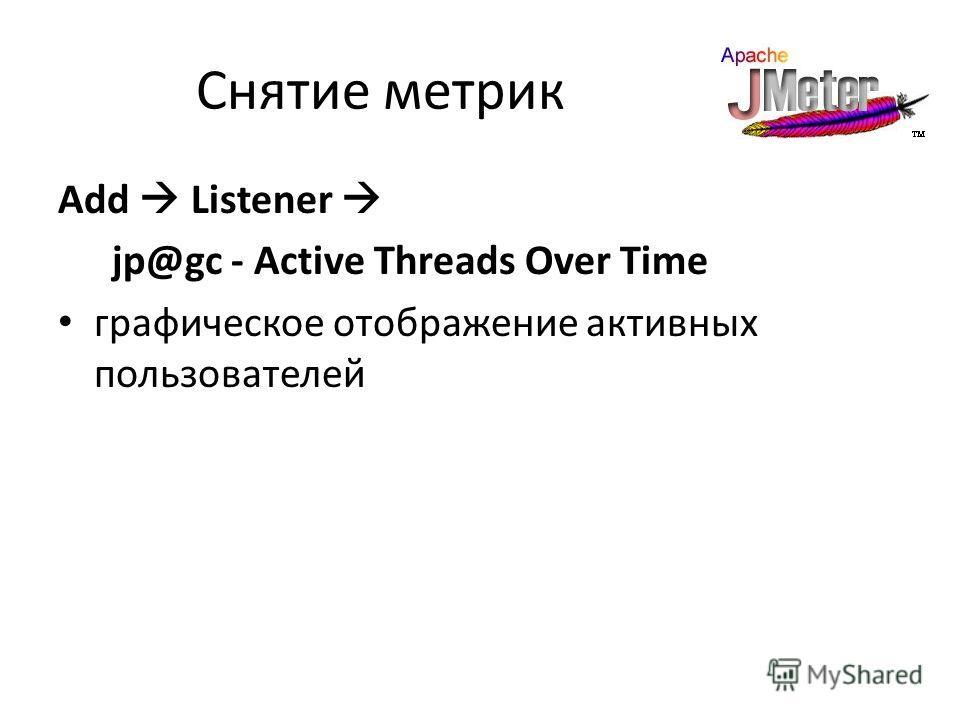 Снятие метрик Add Listener jp@gc - Active Threads Over Time графическое отображение активных пользователей