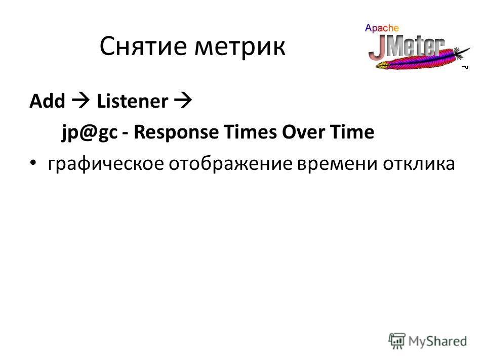 Снятие метрик Add Listener jp@gc - Response Times Over Time графическое отображение времени отклика