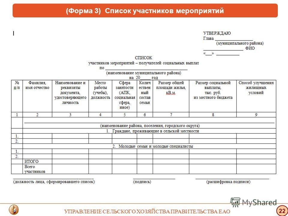 (Форма 3) Список участников мероприятий УПРАВЛЕНИЕ СЕЛЬСКОГО ХОЗЯЙСТВА ПРАВИТЕЛЬСТВА ЕАО 22