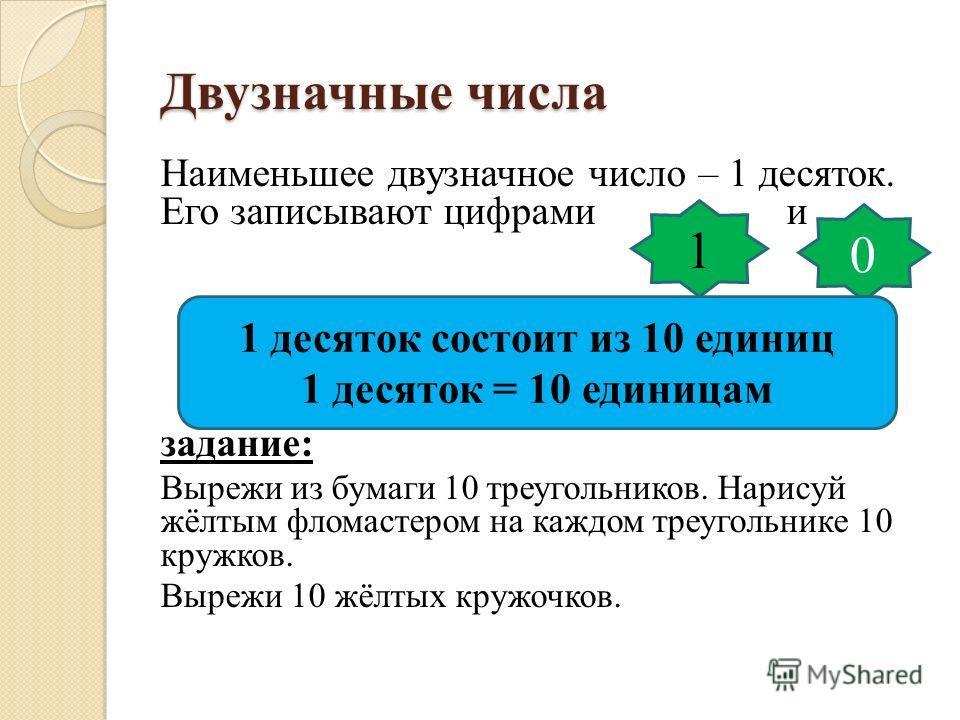 Двузначные числа Наименьшее двузначное число – 1 десяток. Его записывают цифрами и задание: Вырежи из бумаги 10 треугольников. Нарисуй жёлтым фломастером на каждом треугольнике 10 кружков. Вырежи 10 жёлтых кружочков. 1 0 1 десяток состоит из 10 едини