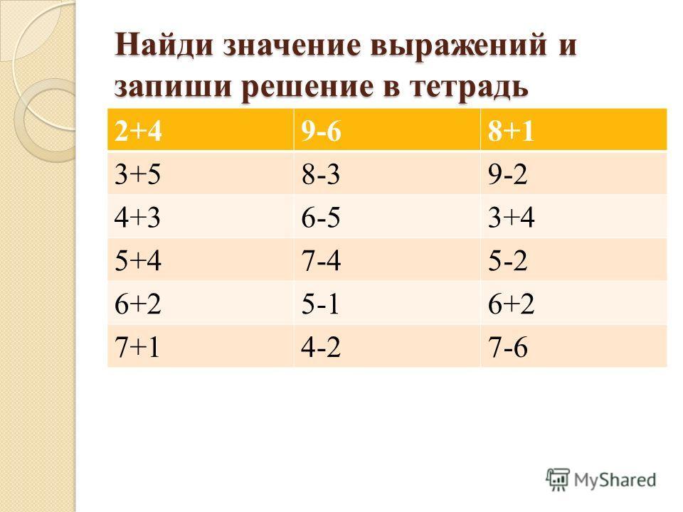 Найди значение выражений и запиши решение в тетрадь 2+49-68+1 3+58-39-2 4+36-53+4 5+47-45-2 6+25-16+2 7+14-27-6