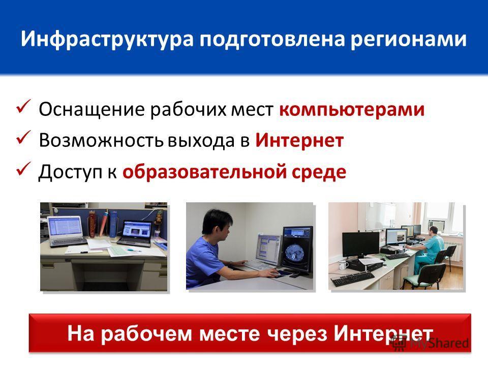 Инфраструктура подготовлена регионами Оснащение рабочих мест компьютерами Возможность выхода в Интернет Доступ к образовательной среде На рабочем месте через Интернет