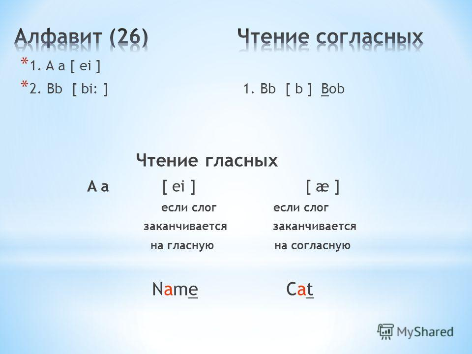 * 1. A a [ ei ] * 2. Bb [ bi: ] 1. Bb [ b ] Bob Чтение гласных A a [ ei ] [ æ ] если слог если слог заканчивается заканчивается на гласную на согласную Name Cat
