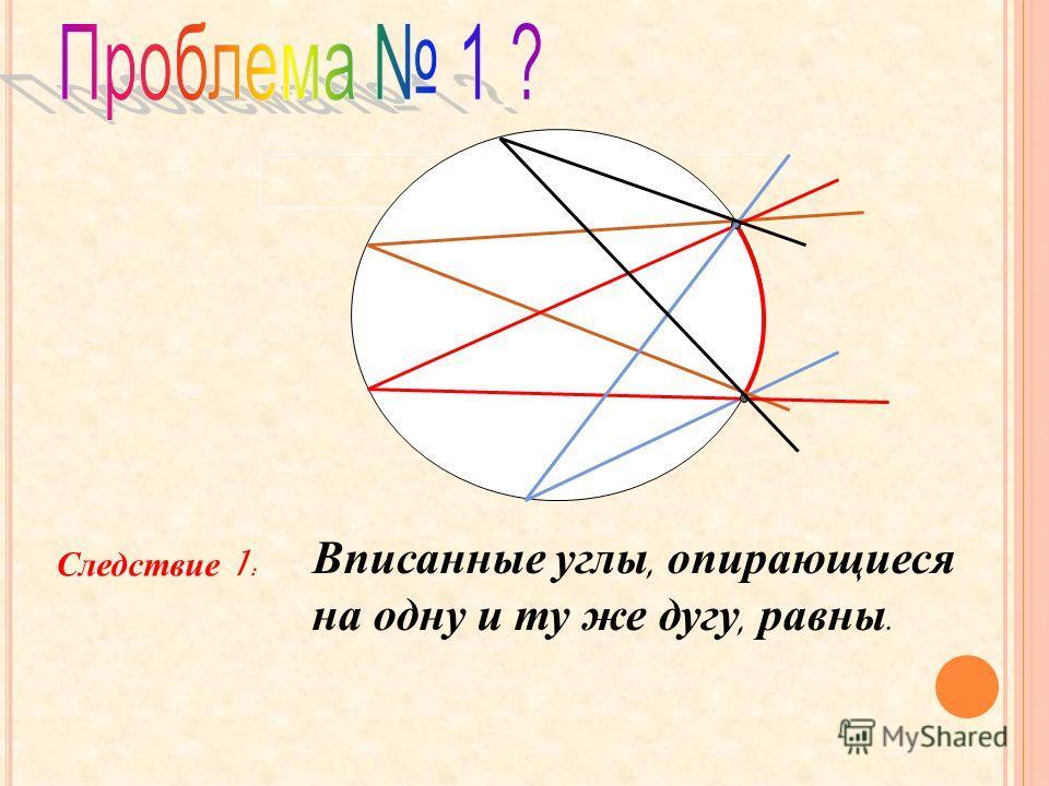 Следствие 1: Вписанные углы, опирающиеся на одну и ту же дугу, равны.