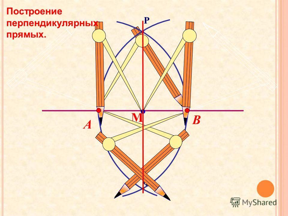 Q P В А М Построение перпендикулярных прямых.