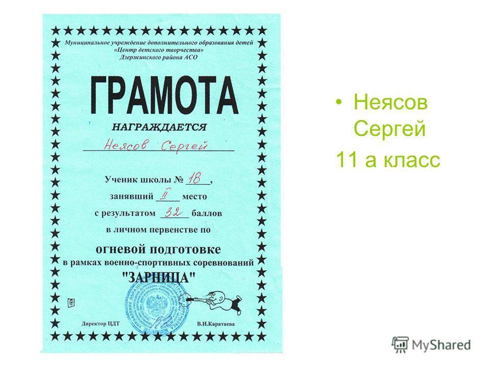 Неясов Сергей 11 а класс