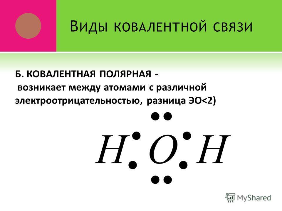 В ИДЫ КОВАЛЕНТНОЙ СВЯЗИ Б. КОВАЛЕНТНАЯ ПОЛЯРНАЯ - возникает между атомами с различной электроотрицательностью, разница ЭО