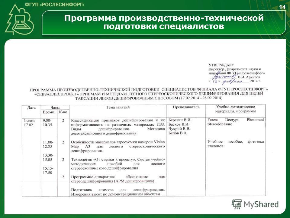 Программа производственно-технической подготовки специалистов 14