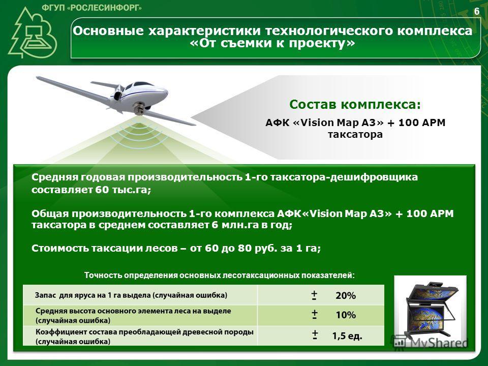 Состав комплекса: Средняя годовая производительность 1-го таксатора-дешифровщика составляет 60 тыс.га; Общая производительность 1-го комплекса АФК«Vision Map A3» + 100 АРМ таксатора в среднем составляет 6 млн.га в год; Стоимость таксации лесов – от 6
