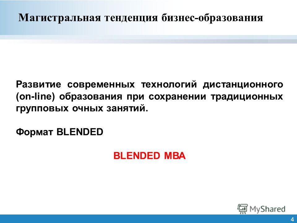 4 Магистральная тенденция бизнес-образования Развитие современных технологий дистанционного (on-line) образования при сохранении традиционных групповых очных занятий. Формат BLENDED BLENDED МВА