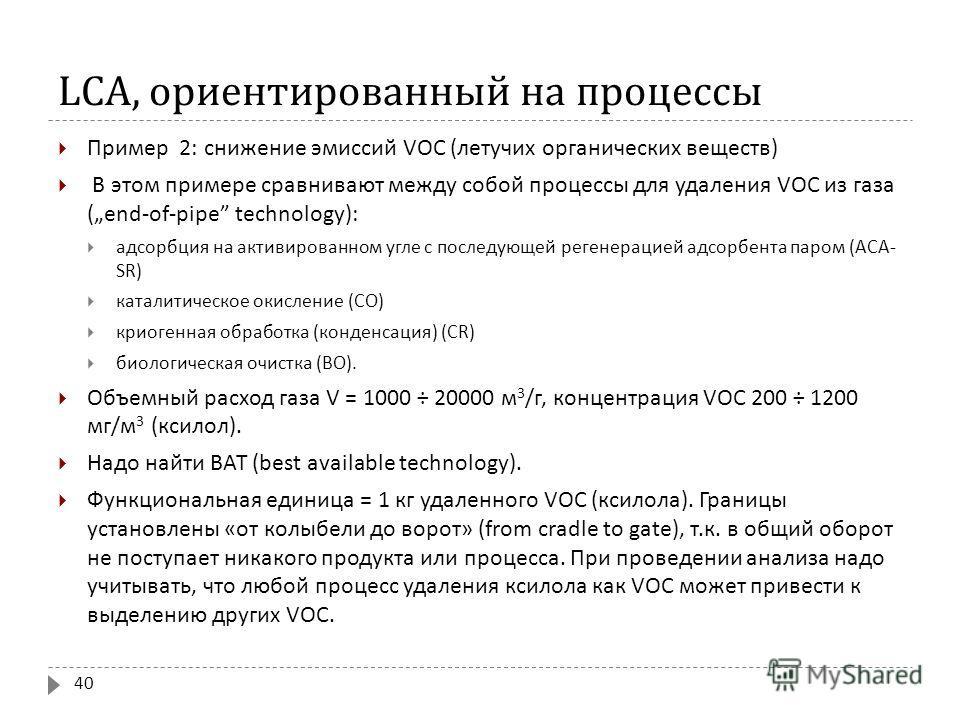 LCA, ориентированный на процессы Пример 2: снижение эмиссий VOC ( летучих органических веществ ) В этом примере сравнивают между собой процессы для удаления VOC из газа (end-of-pipe technology): адсорбция на активированном угле с последующей регенера