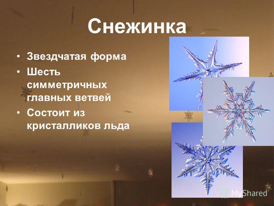 Снежинка Звездчатая форма Шесть симметричных главных ветвей Состоит из кристалликов льда
