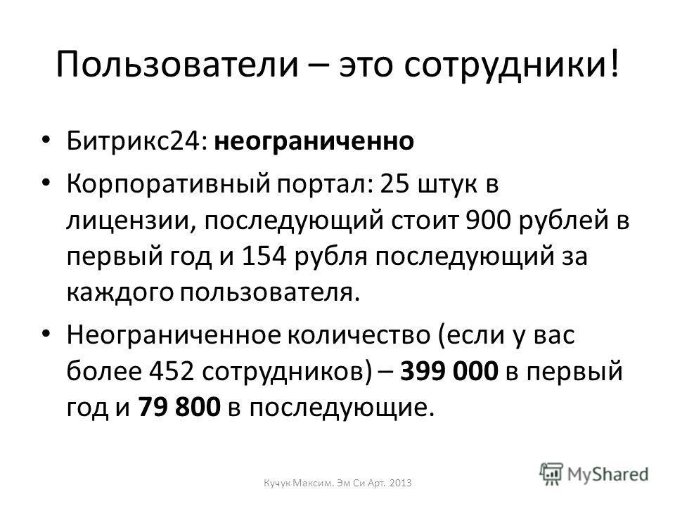 Пользователи – это сотрудники! Битрикс24: неограниченно Корпоративный портал: 25 штук в лицензии, последующий стоит 900 рублей в первый год и 154 рубля последующий за каждого пользователя. Неограниченное количество (если у вас более 452 сотрудников)