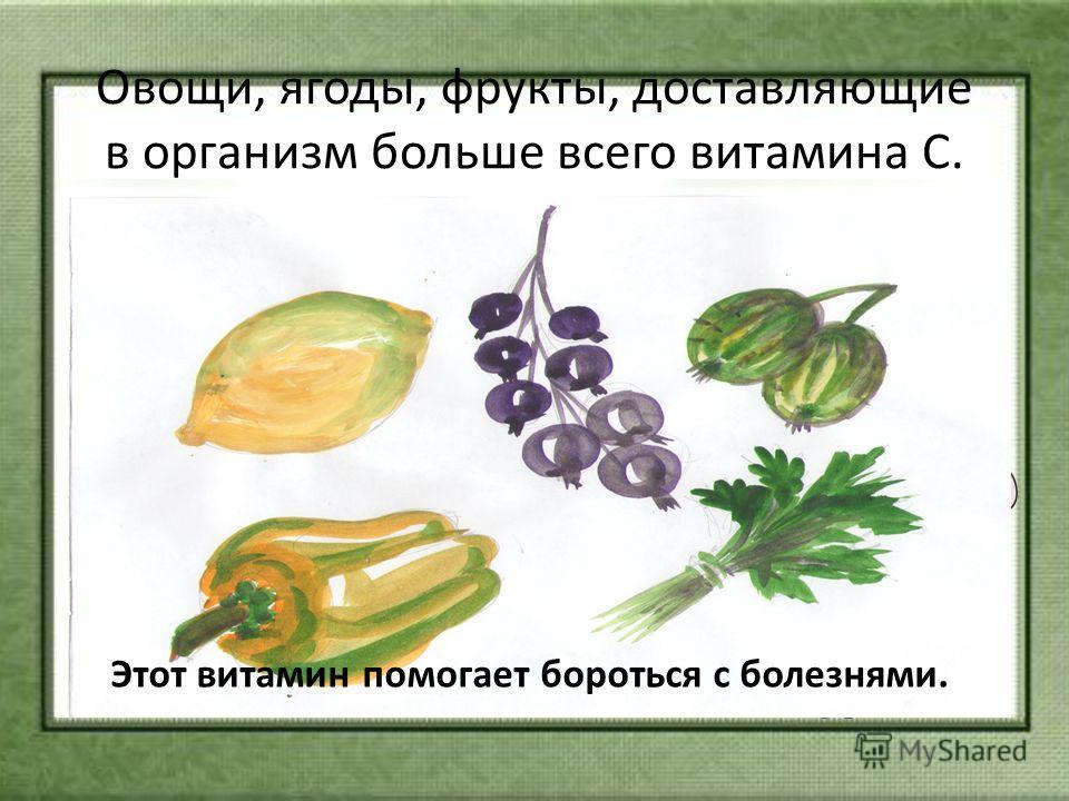 Овощи, ягоды, фрукты, доставляющие в организм больше всего витамина С. Этот витамин помогает бороться с болезнями.