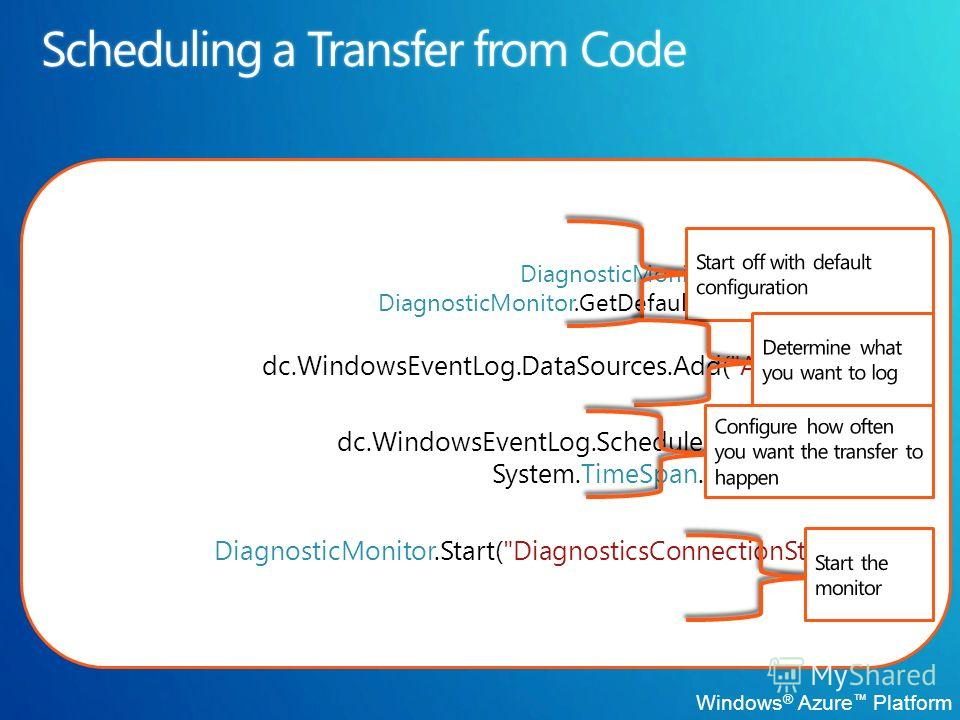 DiagnosticMonitorConfiguration dc = DiagnosticMonitor.GetDefaultInitialConfiguration(); dc.WindowsEventLog.DataSources.Add(
