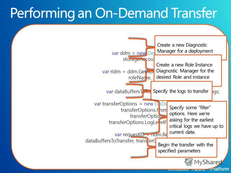Windows ® Azure Platform var ddm = new DeploymentDiagnosticManager( storageAccount, deploymentID); var ridm = ddm.GetRoleInstanceDiagnosticManager( roleName, roleInstanceName); var dataBuffersToTransfer = DataBufferName.Logs; var transferOptions = ne