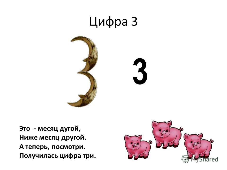 Цифра 3 3 Это - месяц дугой, Ниже месяц другой. А теперь, посмотри. Получилась цифра три.